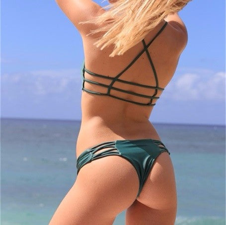 SOLID GREEN TWO PIECE BIKINI SET