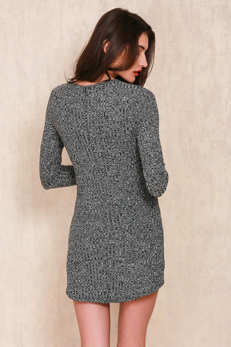 LACE UP KNITTED SWEATER DRESS