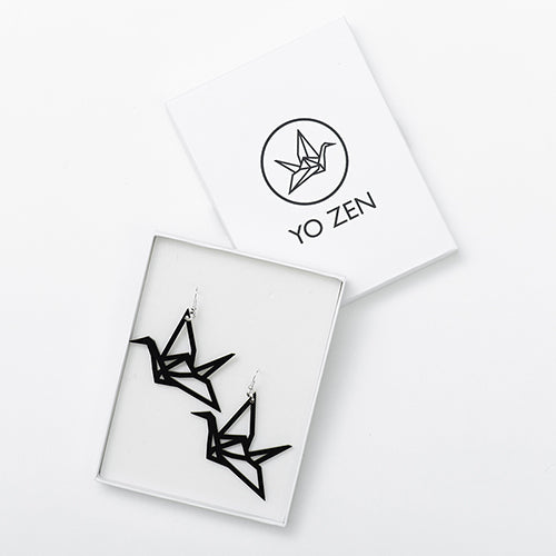 YO ZEN - Origami Swan Earrings - Birch