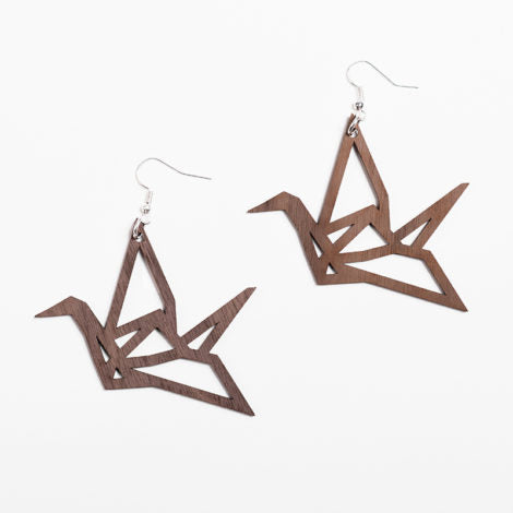YO ZEN - Origami Swan Earrings - Walnut