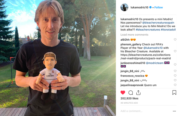 FIFA player of the year Luka Modrić shared his Bleacher Creature on Instagram