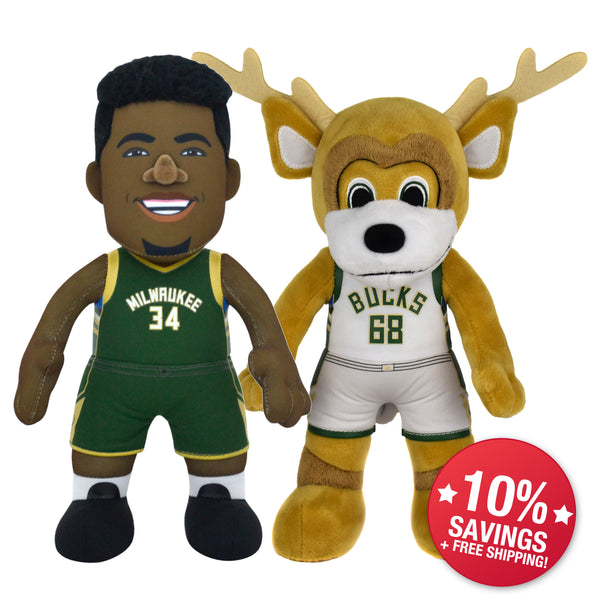 "Milwaukee Bucks Bundle: Giannis Antetokounmpo & Bango 10"" Plush Figures (10% Savings)"