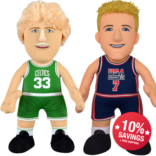 "Larry Bird Bundle- USA Basketball and Boston Celtics 10"" Plush Figures (10% Savings)"