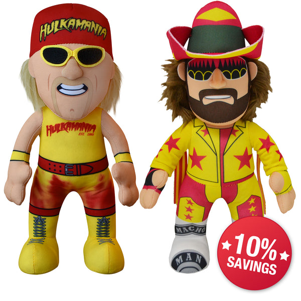 "WWE 80s Legends Bundle: Hulk Hogan and Randy Savage 10"" Plush Figures (10% Savings)"