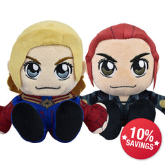 Marvel Kuricha Bundle: Captain Marvel & Black Widow Kuricha Plushies (10% Savings)