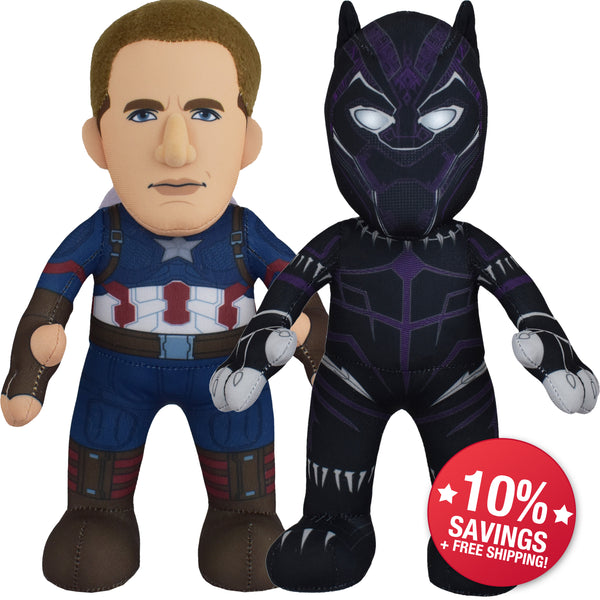 "Marvel Plush Figure Bundle: Captain America and Black Panther 10"" Plush Figures"