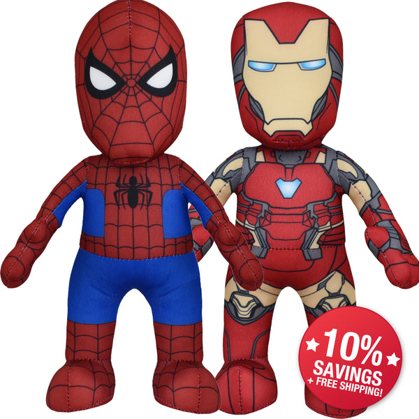 Marvel Plush Figure Bundle: Spider-Man & Iron Man Figures (10% Savings)