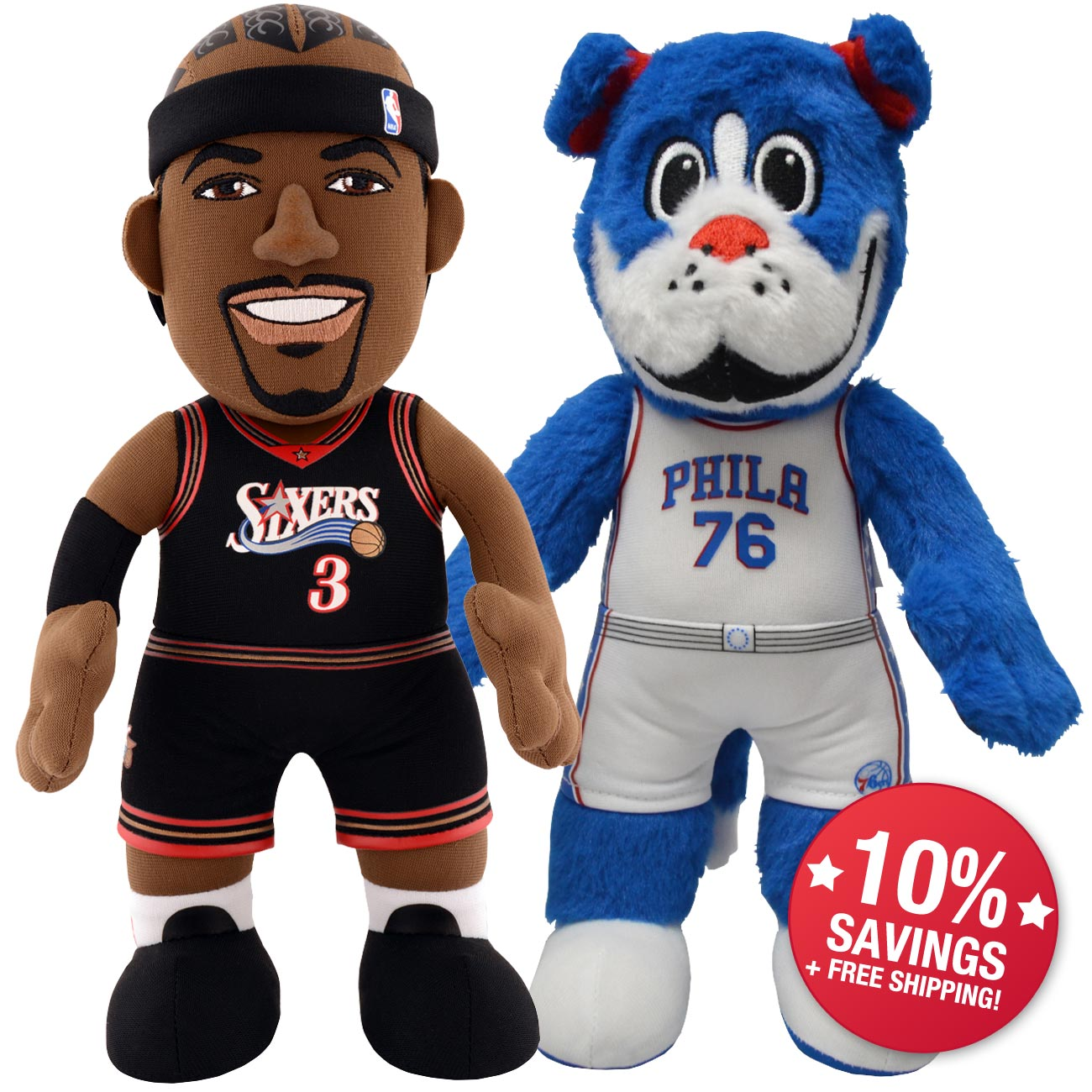Philadelphia 76ers Dynamic Duo Simmons And Iverson 10 Savings Bleacher Creatures