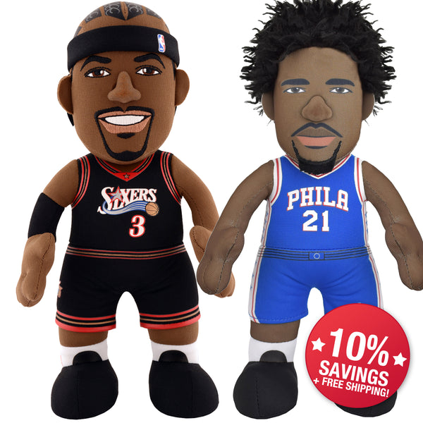 "Philadelphia 76ers Bundle: Allen Iverson & Joel Embiid 10"" Plush Figures (10% Savings)"