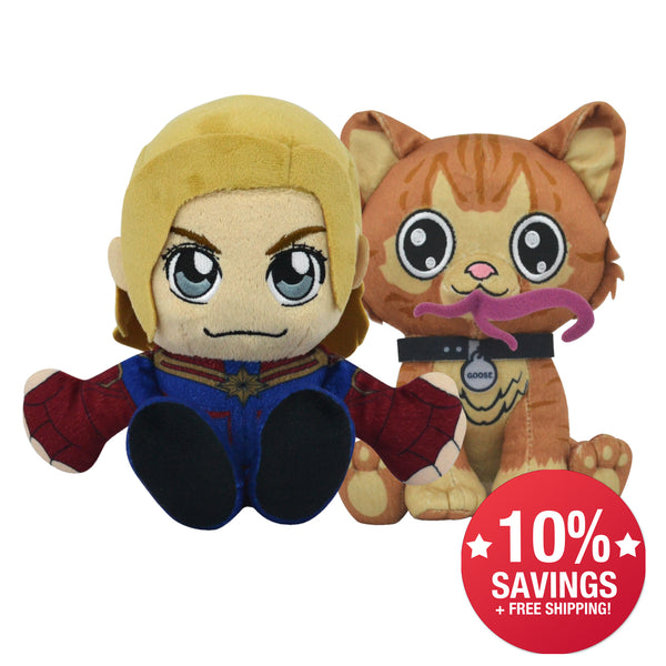 Marvel Kuricha Bundle: Captain Marvel and Goose Kuricha Plushies