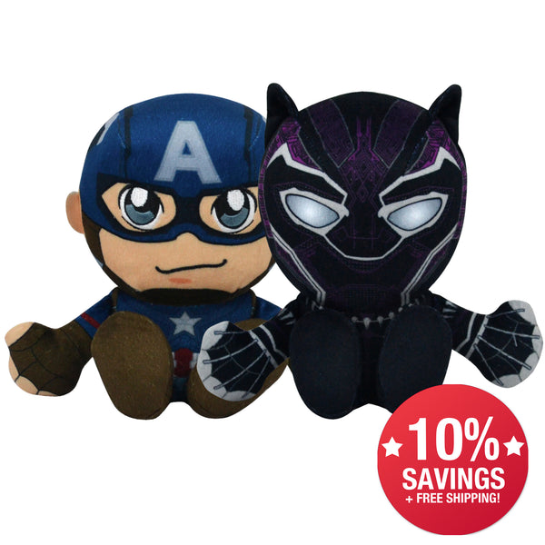 "Marvel Kuricha Bundle: Black Panther and Captain American 8"" Sitting Plushies"