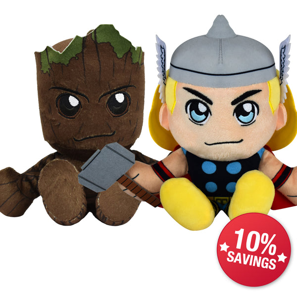 Marvel Kuricha Bundle: Groot and Thor Kuricha Plushies (10% Savings)