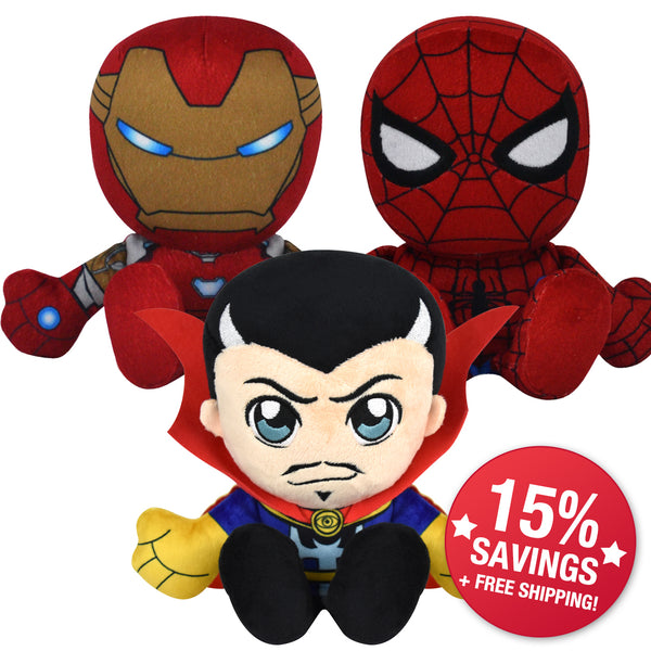 "Marvel ""Infinity War"" Kuricha Bundle: Dr. Strange, Spidey & Iron Man Kuricha Plushies (15% Savings)"