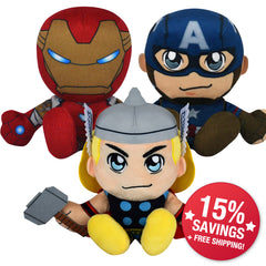 Marvel Avengers Kuricha Bundle: Thor, Cap & Iron Man Kuricha Plushies (15% Savings)