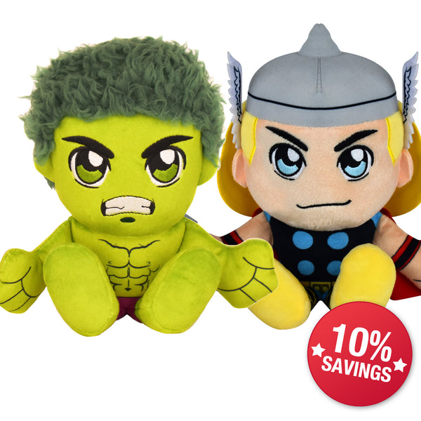 Marvel Kuricha Bundle: The Hulk and Thor Kuricha Plushies (10% Savings)