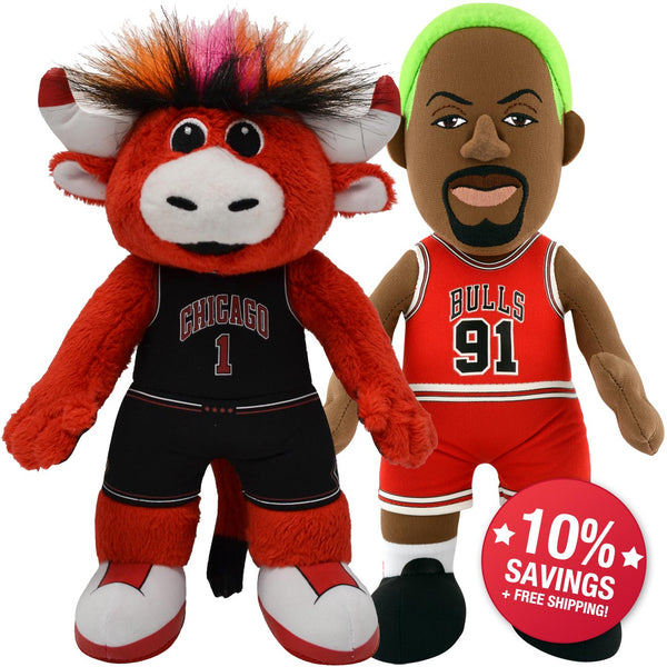 "Chicago Bulls Bundle: Benny The Bull & Dennis Rodman 10"" Plush Figures (10% Savings)"