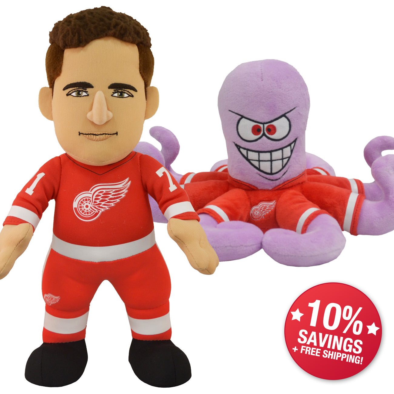 best value d4fd4 0a63c Detroit Red Wings Bundle: Mascot Al The Octopus and Dylan ...