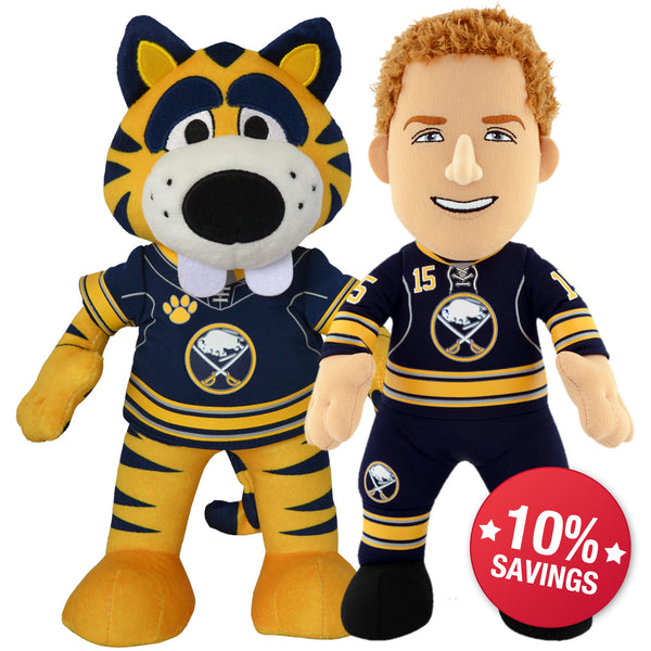 "Buffalo Sabres Bundle: Sabretooth & Jack Eichel 10"" Plush Figures (10% Savings)"