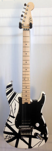 EVH Striped Series White with Black Stripes Electric Guitar