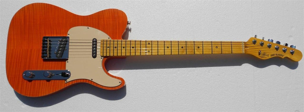 G&L USA ASAT Classic Clear Orange Flame Top with Hardshell Case