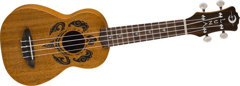 Luna UKE HONU Soprano Tribal Turtle Ukulele with Gig Bag