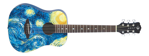 Luna Safari Starry Night Travel Guitar with Gig Bag