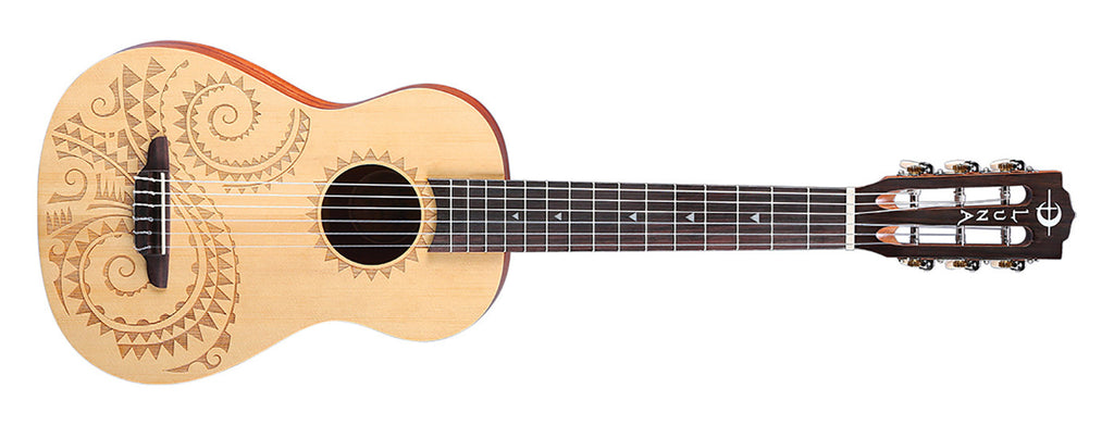 Luna UKE TAT 6 Uke Tattoo 6-String Baritone Spruce Satin Natural
