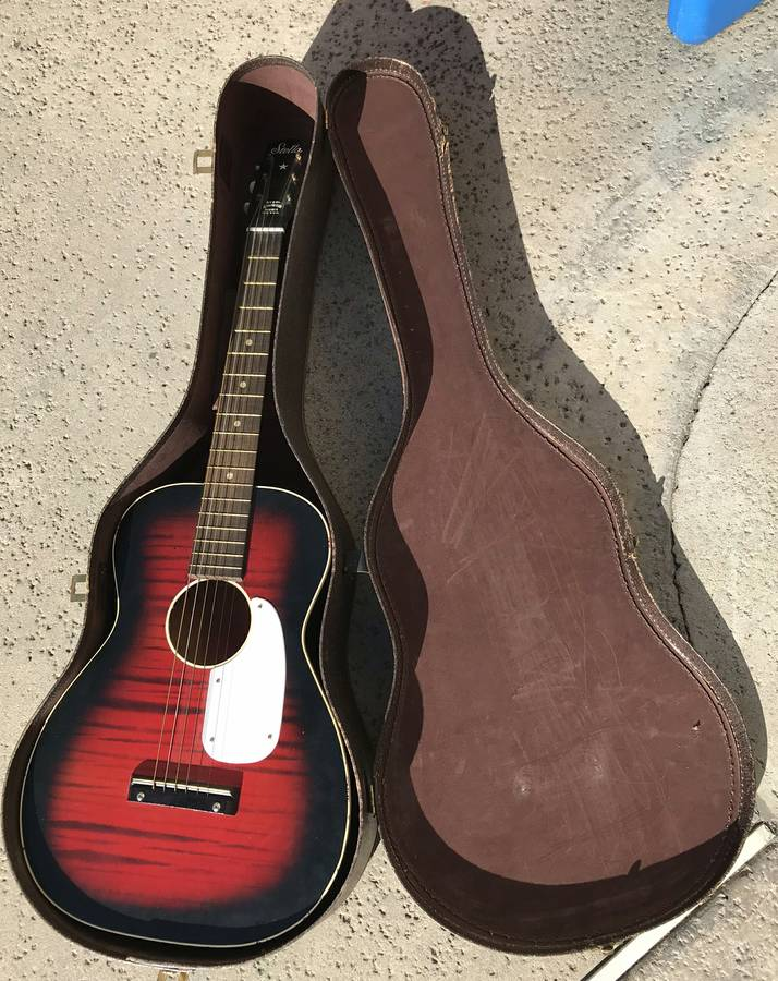 Stella by Harmony 50s - 60s Redburst Vintage Parlor Acoustic Guitar with Case