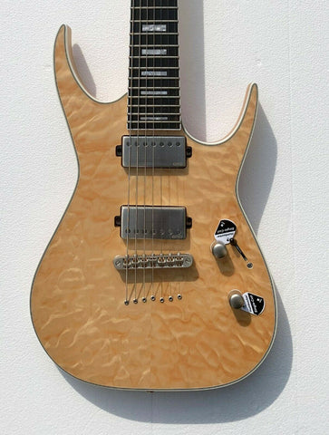 Dean Exile Select 7 String Quilt Top, Satin Natural, EXILE 7 QM SN