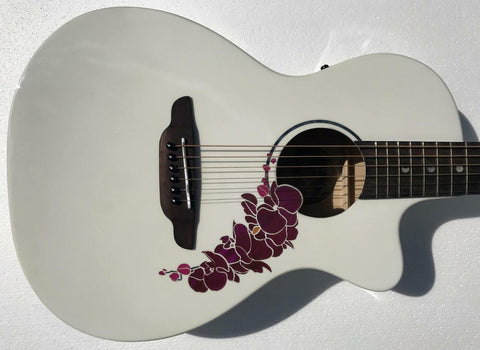 Luna FLO OR CWH Flora Orchid Acoustic Electric Classic White