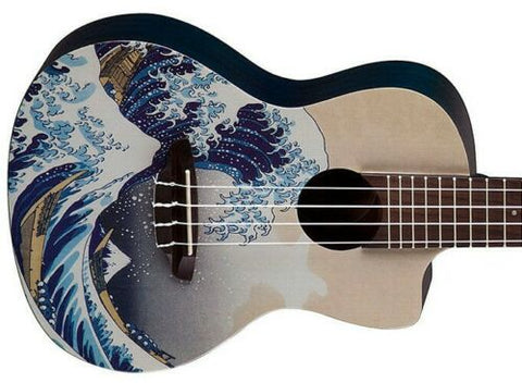 Luna Guitars Great Wave Japanese Art Concert Ukulele Uke & Gig Bag