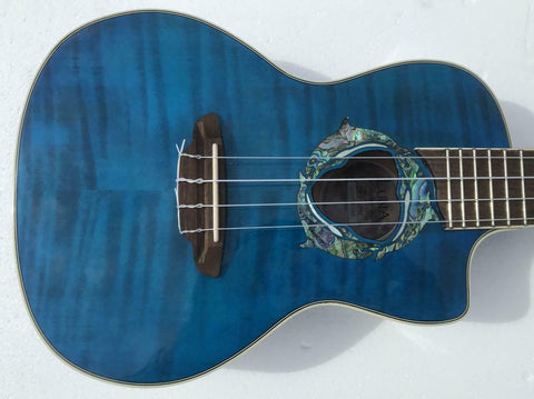 Luna UKE DPN Dolphin Concert Quilted Maple A/E Trans Blue
