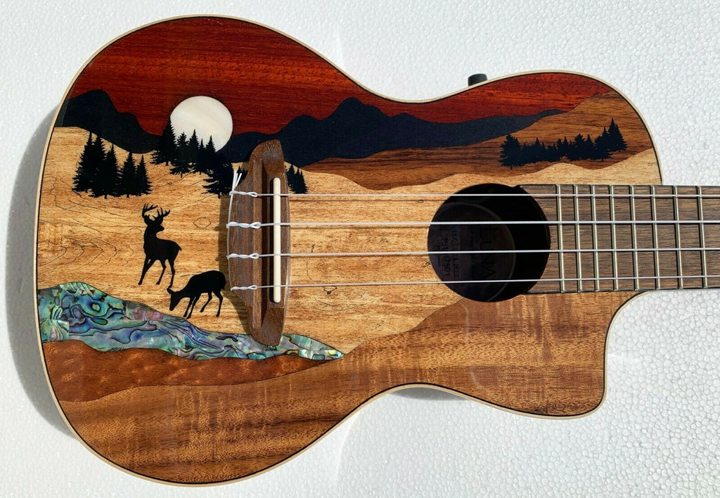 Luna Guitars UKE VISTA DEER C Vista Deer Concert Acoustic Electric Ukulele