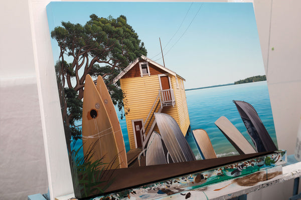 Herne Bay cruising club boathouse painting