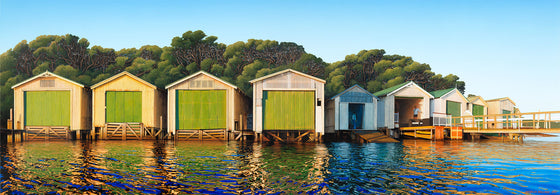 A painting of the Orakei Boat Sheds on Ngapipi Rd, by New Zealand artist Michelle Bellamy.