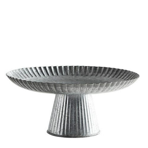 Galvanized Scalloped Pastry Stand