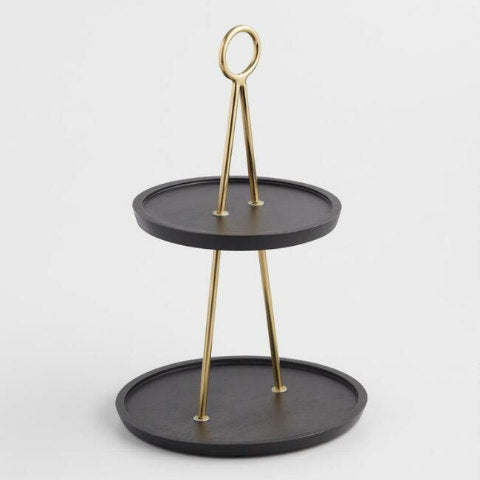Matte Black Gold 2-Tier