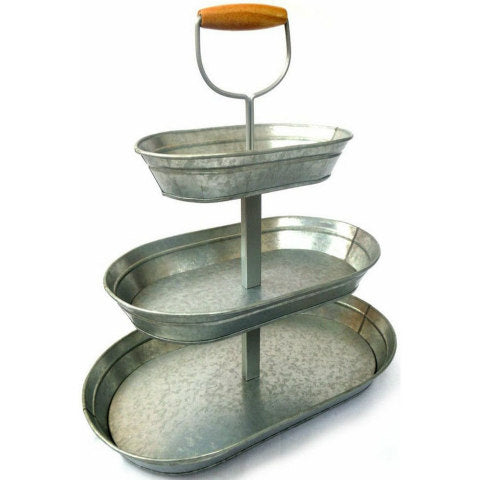 Galvanized Metal Oval 3-Tier