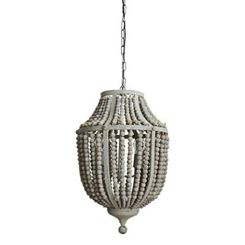 Gray Wood Bead Chandelier