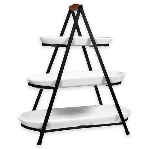 White Oval Ceramic 3-Tier