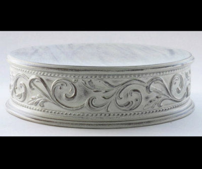 Antique White Embossed Cake Stand