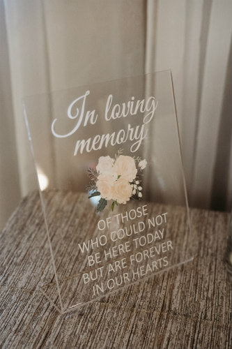 "Acrylic ""In Loving Memory"" Sign"