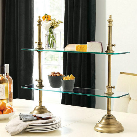 Glass Brass 2-Tier XL Stand