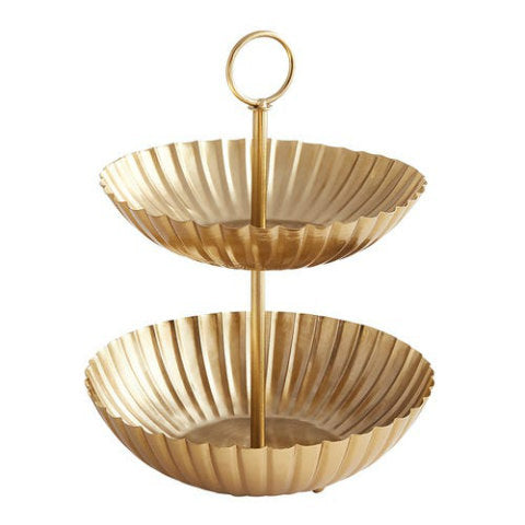 Gold Scallop 2-Tier Tray