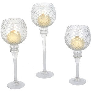 Hobnail Tea Light Trio