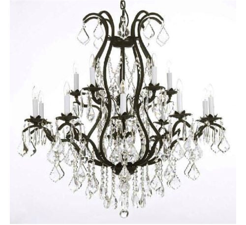 Large Iron & Crystal Chandelier