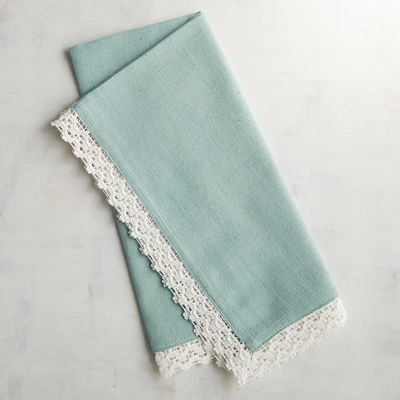 Lace Trim Sky Blue Napkin