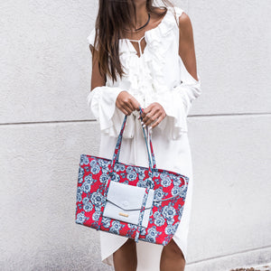Regina Tote in Coral & Denim