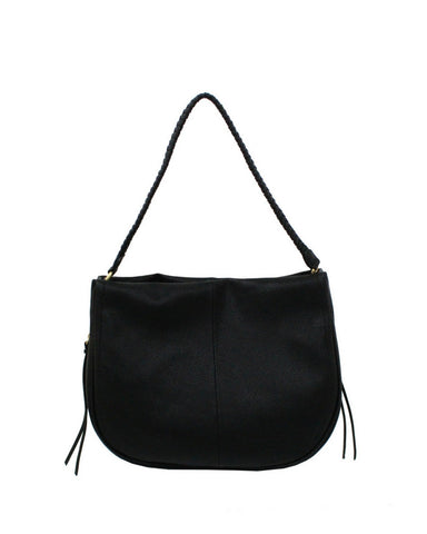 COCONUT ISLAND LIBERATED LEATHER HOBO IN BLACK