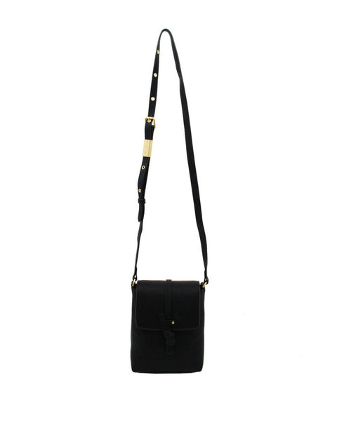 COCONUT ISLAND LIBERATED LEATHER PHONE BAG IN BLACK